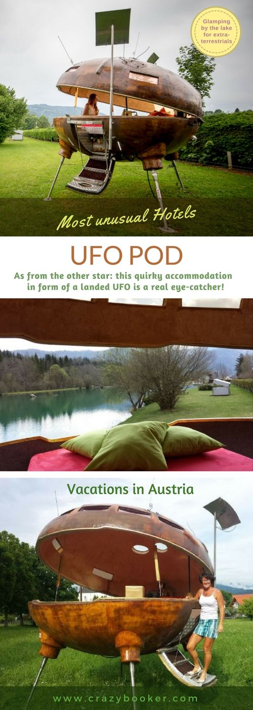 Unique UFO pod for vacations in #Austria | As from the other star: this #quirky #glamping accommodation in form of a landed UFO is a real eye-catcher ! For exterrestrial stays this habitable flying saucer is the only one and therefore very popular in summertime | Learn more or follow board for many other outdoor lodgings & unusual hotels ! #accommodation #unique #outdoor #bedroomideas