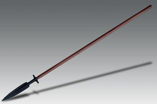 BOAR SPEAR- a modern take on  a spear used to hunt wild pigs and other large dangerous game, with or without dogs. The crossguard keeps the animals at bay after being speared. Also could be used for short range self defense.