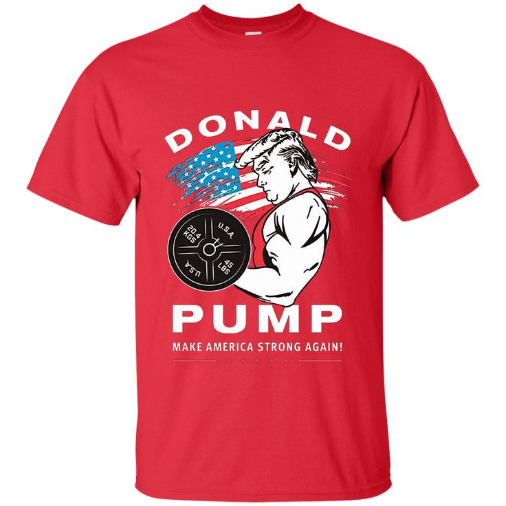Men's Donald Pump - Make American strong again t-shirt Large Black M/H/W