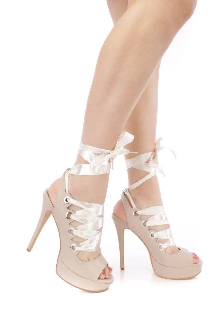 Lace Up Ribbon Heels