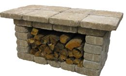 Firewood Holder made from patio block & top can be used when entertaining outdoors