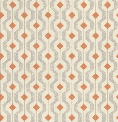 Solstice (EW15010/338) - Threads Wallpapers - An all over geometric design wallcovering. Shown here in grey and orange on a cream background. Other colourways are available. Please request a sample for a true colour match. Paste-the-wall product.