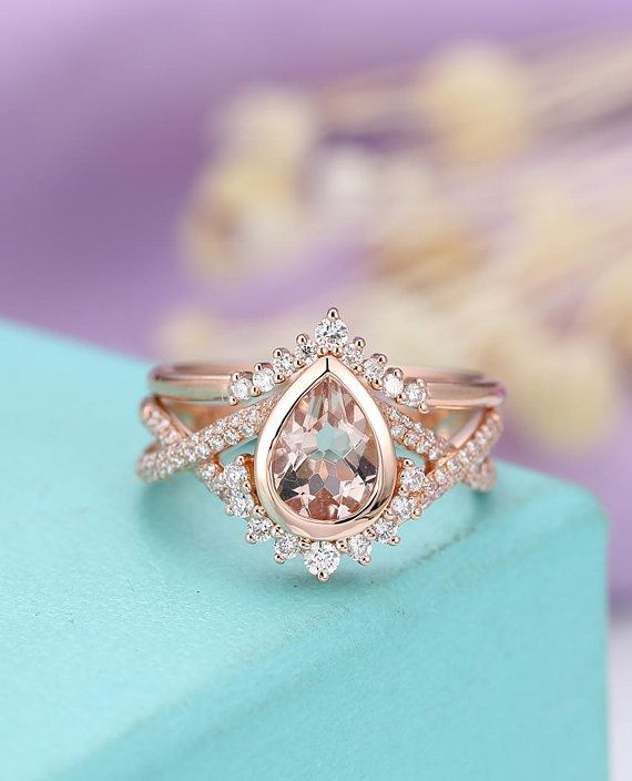 Morganite Engagement Ring Set Art Deco Vintage Rose Gold Wedding