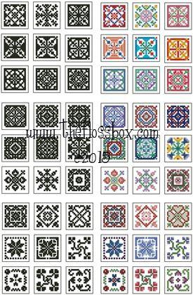 Mini Biscornu Cross Stitch Collection 2 Pattern