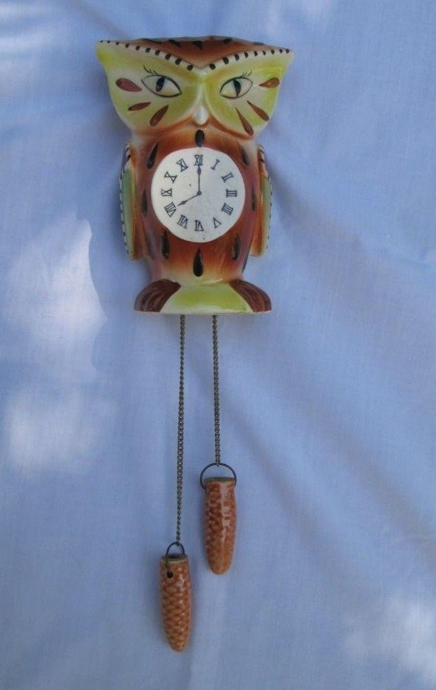 Vtg 50s 60s Ceramic Owl Wall Pocket Japan Cuckoo Clock Design Figural Vase #WallPocket