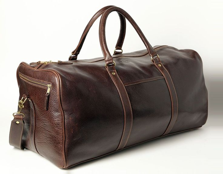 Large Zip Top Duffle Bag - Brown - In stock - Side View