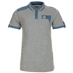 Dissident Mens Gents Grey Contrast Panels Pocketed Cotton Polo T-Shirt Tee Top (Grey)