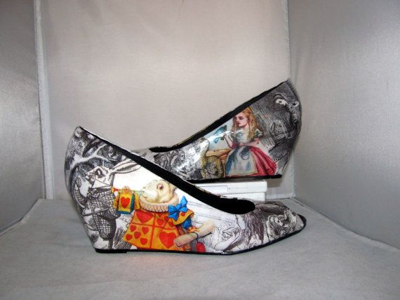 Alice in Wonderland Original Sketches by John Tenniel Wedge Heels - Made to Order