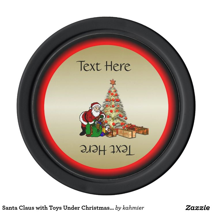 Santa Claus with Toys Under Christmas Tree Poker Chips Set