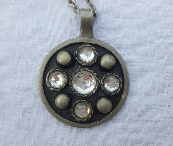 Swedish vintage pewter pendant with white stones by ElineaVintage