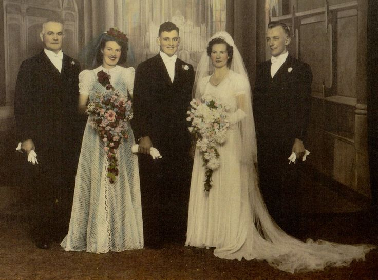 Eric & Lila Williams nee Stockdale Wedding. (Mary Gustafson`s step-son, son of Mary`s dec`d sister & husband). gave Lila Stockdale away because father Cecil Stockdale missing in action, WW2