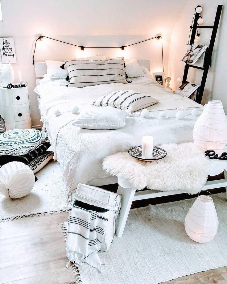 Schlafzimmerideen Schlafzimmerdeko Bett Dekoration Bett Ideen