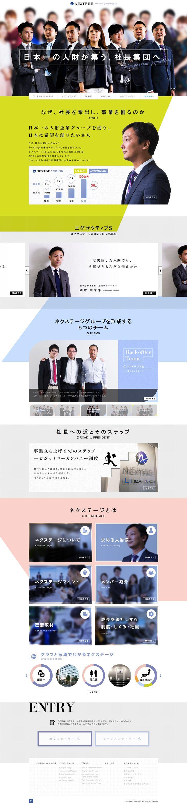 NEXTAGE リクルートサイト【求人関連関連】のLPデザイン。WEBデザイナーさん必見!ランディングページのデザイン参考に(シンプル系)