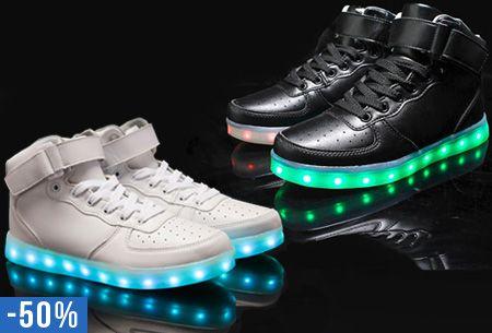Oplaadbare LED schoenen hoog model nu slechts €59,95   Steel de show op elk feestje! #LED #schoenen #vouchervandaag #feest