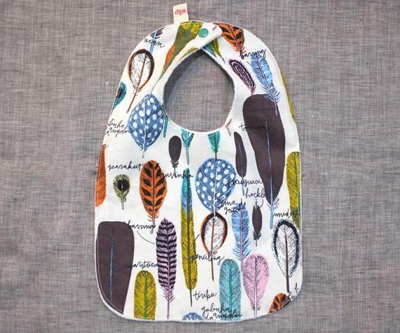 bib baby toddler gift feathers newborn / cream pink blue brown