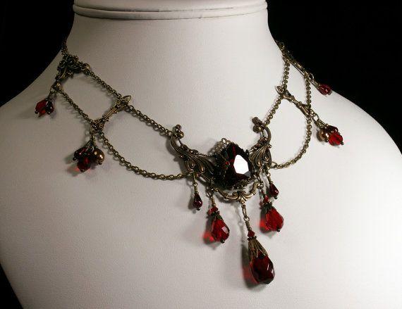Dark Garnet Red Crystal Pearl Antiqued by TitanicTemptations, $215.00