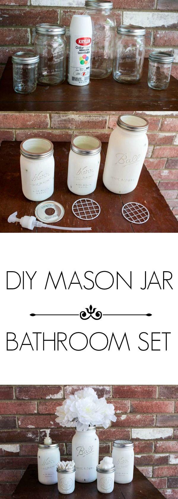 DIY MASON JAR BATHROOM SET PINTEREST