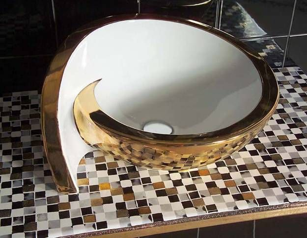 contemporary spiral shape round bathroom sink with golden finish