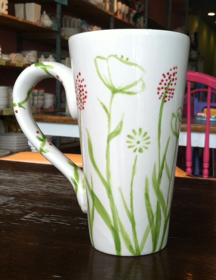 Green and Red Flower Mug | Paint Your Own Pottery | Paint Your Pot | Cary, North Carolina