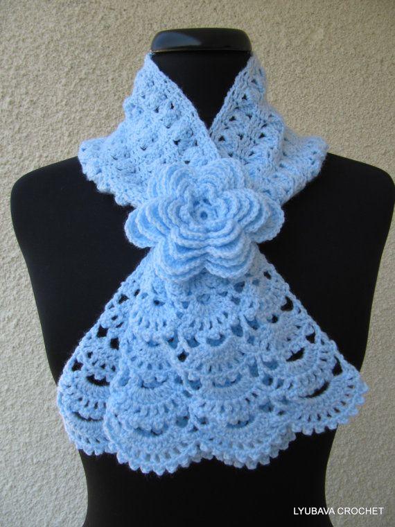 CROCHET NECKWARMER, New Hand Crocheted Lace Scarf, Blue Pastel Romantic Crochet Lacy Scarf with Crochet Flower, Cyprus Crochet Lyubava. $43.90, via Etsy.