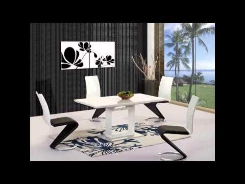 White Black Grey High Gloss Dining Table and 4 6 8 Chairs Extending