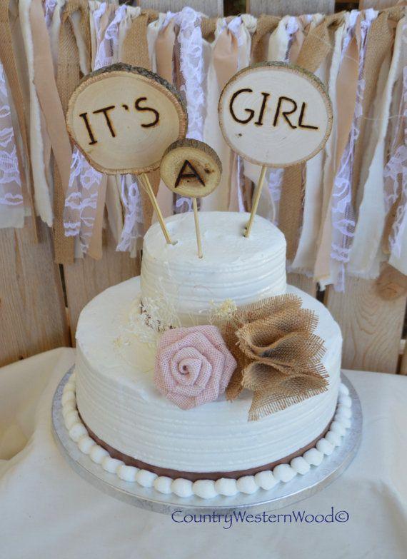 Elegant Rustic Cake Topper, Baby Shower Cake Topper, Burlap Cake Topper, Wood Cake  Topper, Itu0027s A Girl Cake Topper, Rustic Baby Shower