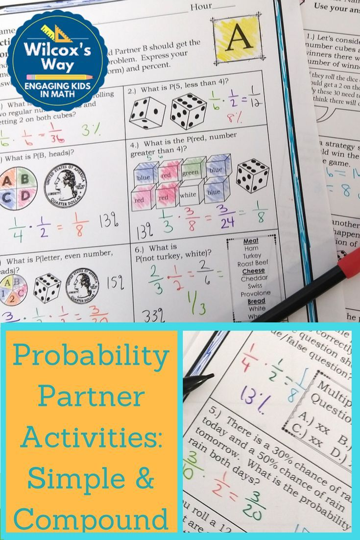 Simple And Compound Probability Partner Activities Probability Worksheets Maths Activities Middle School Math Games Middle School