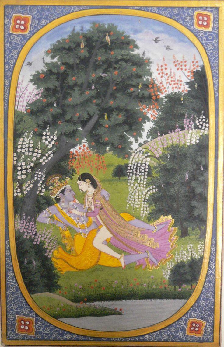 Radha makes love to Krishna in a grove.  An illustration to the Rasikapriya of Keshav Das.  Kangra, c. 1820.