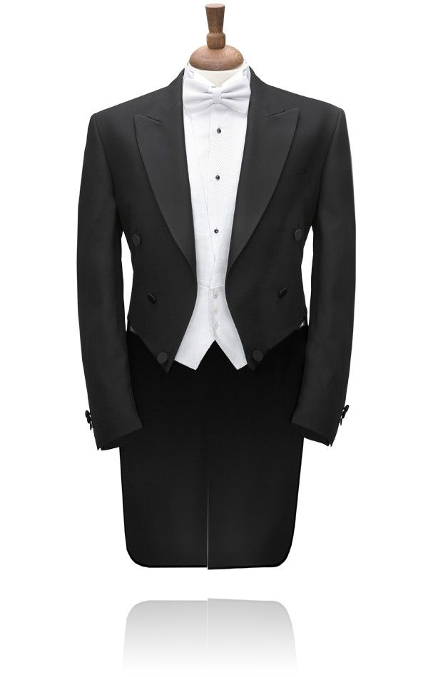 White tie evening tails is the height of formality still today. available to hire at Heaphys of Warwick.