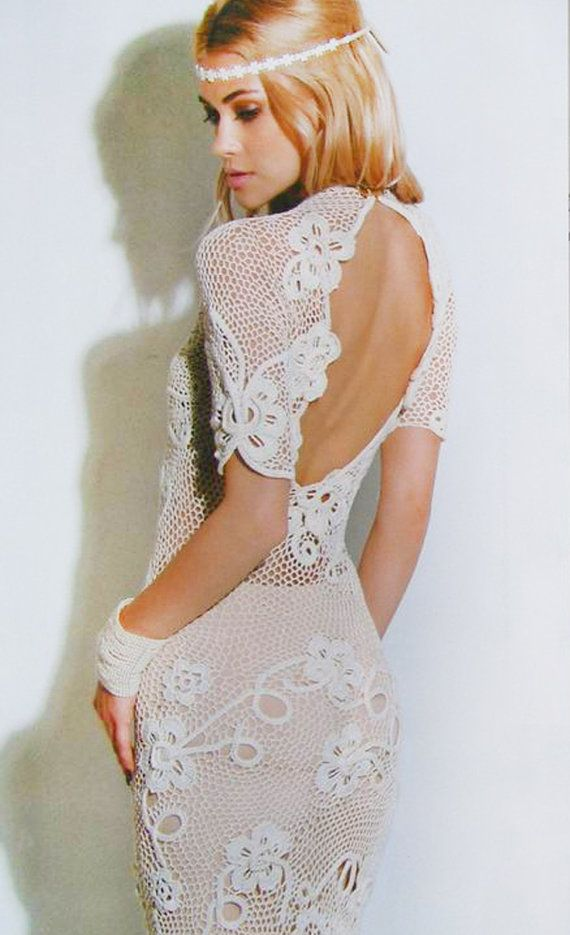 Crochet patterns Fashion Magazine, Zhurnal Mod # 577 In Russian  ***   Irish lace wedding\coctail dress, top, skirt  ***    ° Irish lace Motives   °