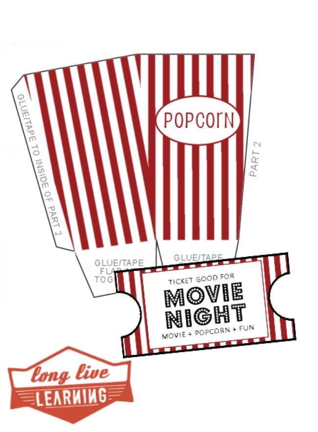 Popcorn Box Template And Movie Night Stub Printables . Movie Ticket  TemplatePrintable TicketsFree ...  Free Printable Movie Ticket Template
