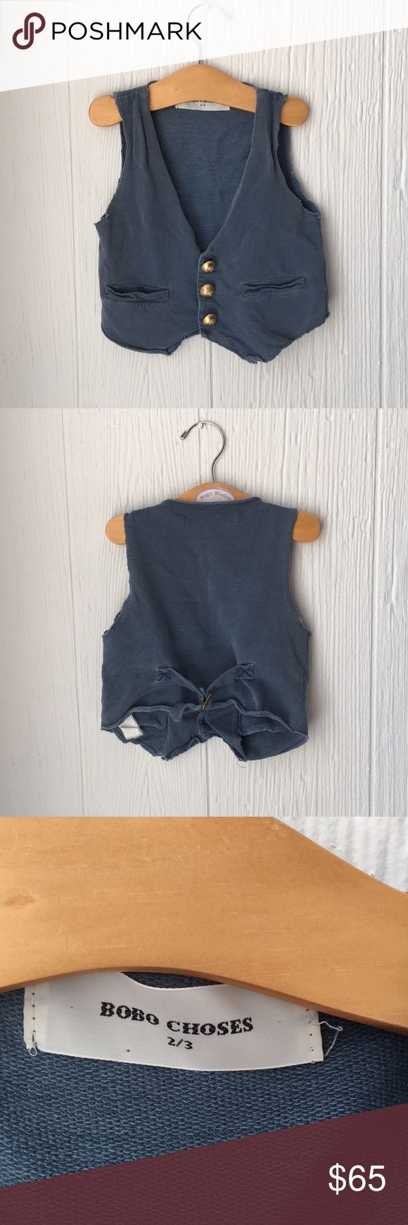 Toddler Boys Vest 2T - 3T Sweet knit vest for little boys. Distressed style with raw edges in a sturdy knit fabric. Bobo Choses Jackets & Coats Vests