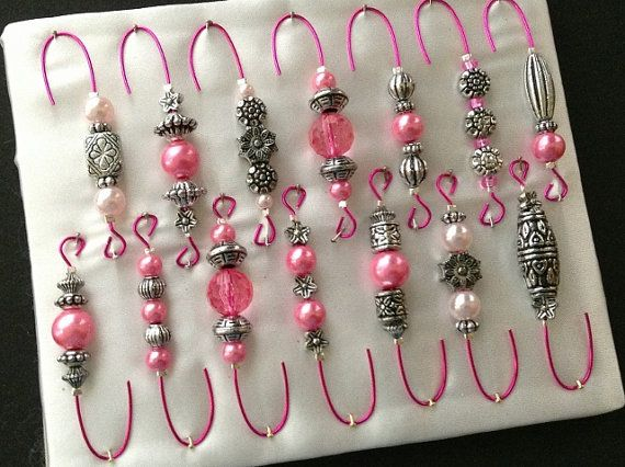 Antique Silver and Pink Pearl Beaded Ornament Hook Hangers - Breast Cancer Awareness Pink Wire - FREE SHIPPING