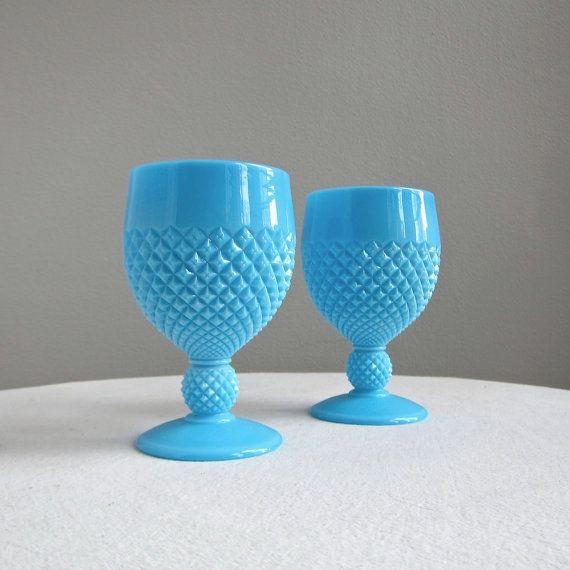 Blue Milk Glass Goblets: Colors Milk, Goblet English, Blue Milk, Glasses Goblet, Vintageantiqu Glasses, Billy Bobs, Hobnail Patterns, Long Bobs, Milk Glasses