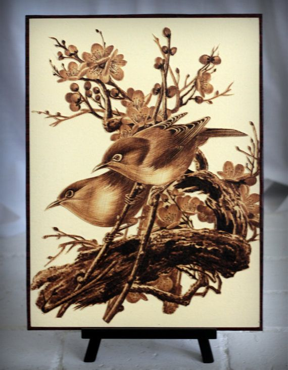 "Sparrows, Cherry Blossoms, Leaf-burned, Pyrography, 12""x16"""