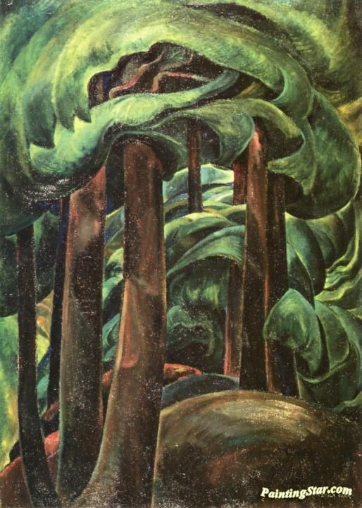 Western Forest Artwork by Emily Carr Hand-painted and Art Prints on canvas for sale,you can custom the size and frame