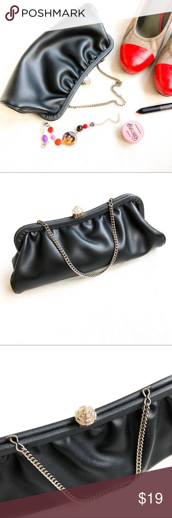 Vintage Leather Evening Bag Vintage Evening Bag can be used as a Clutch or w/ Chain Strap Smooth Soft Black Leather Excellent Condition, one small scuff (see last photo) Vintage Bags Clutches & Wristlets