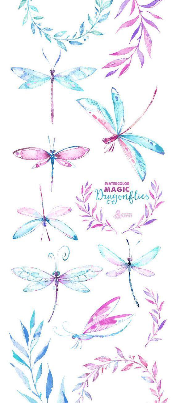 Magischen Libellen. Aquarell von Hand bemalt, Clipart, Kränze, Lorbeeren, DIY-Elemente, Einladung, Hochzeit, rosa, blau, Blumen, romantisch