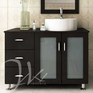 "39"" Lune Single Bathroom Vanity - Espresso.. This would look better if there were drawers on the other side as well."