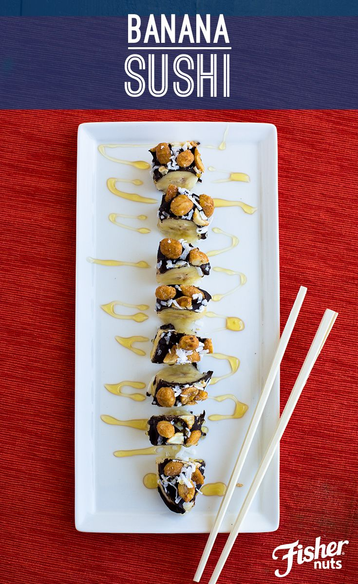 """Switch things up on the common peanut butter + banana snack with this Banana Sushi idea! All you need to make this """"frushi"""" is a banana, melted chocolate, and FISHER Honey Roasted Peanuts.  (1)Melt chocolate in microwave using microwave-safe dish (2)Slice banana into bite-size slices, (3)Dip and roll banana slices' edges in melted chocolate (4)Roll chocolate-covered banana slices in FISHER Honey Roasted peanuts (5)Add some honey and/or coconut shreds, if you like!"""
