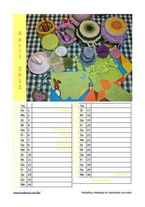 Einseitiges Kalenderblatt April 2012 zum Ausdrucken