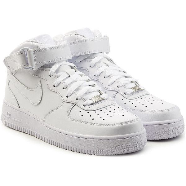 Nike Air Force 1 Mid 07 Leather Sneakers ($149) ❤ liked on Polyvore featuring shoes, sneakers, white, white shoes, nike high tops, high top sneakers, white trainers and white leather shoes