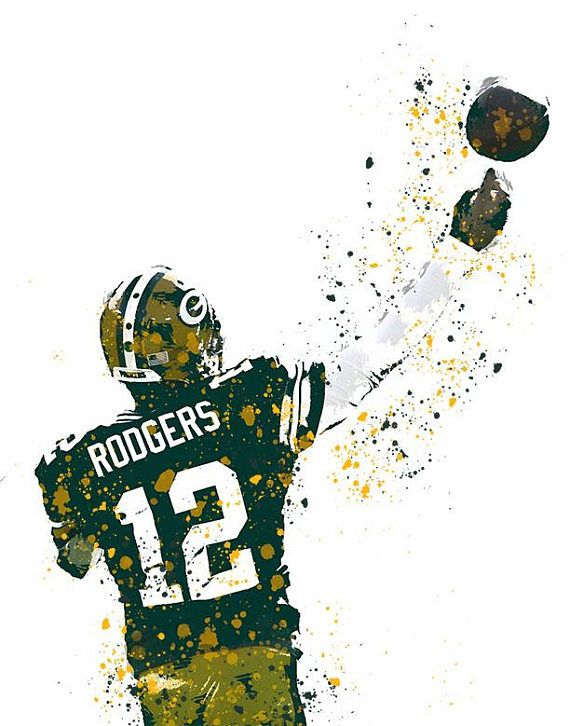Grab This Watercolor Aaron Rodgers File Showing Of His Perfect Throwing Motion Bogo Sale O Sports Art Print Green Bay Packers Wallpaper Rodgers Green Bay