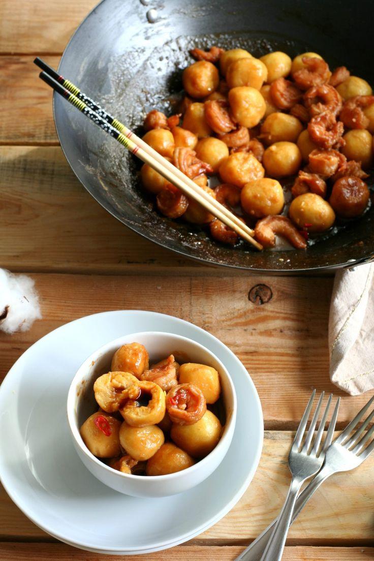 Gnocchi di zucca e patate ripieni di soia con mazzancolle piccanti glassate