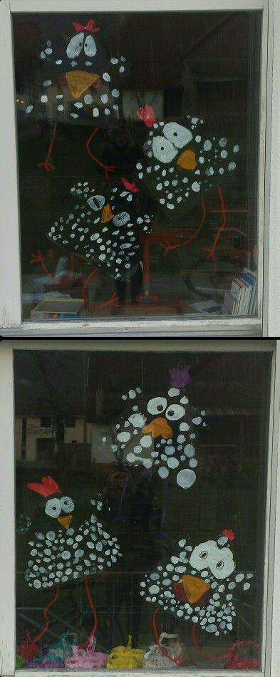 Décoration de fenêtres - Pâques.. Fais avec des 3H.