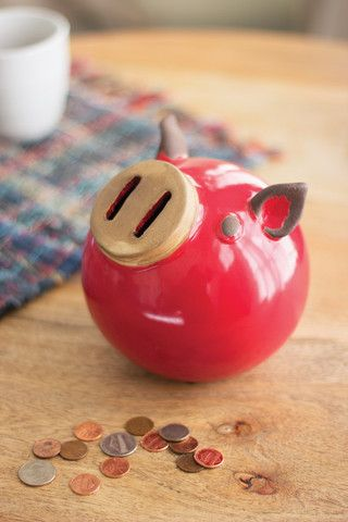 Kalalou Ceramic Piggy Bank - Store your loose change with this adorable red…