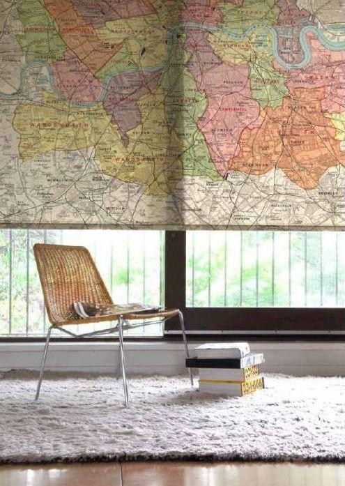 Vintage Map Blind.