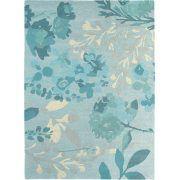 Dit Bluebellgray Braybrooke Teal tapijt is voorzien van kenmerkende oversized bloemen en bladeren in een subtiel ton-sur-ton palet van turquoise tinten.