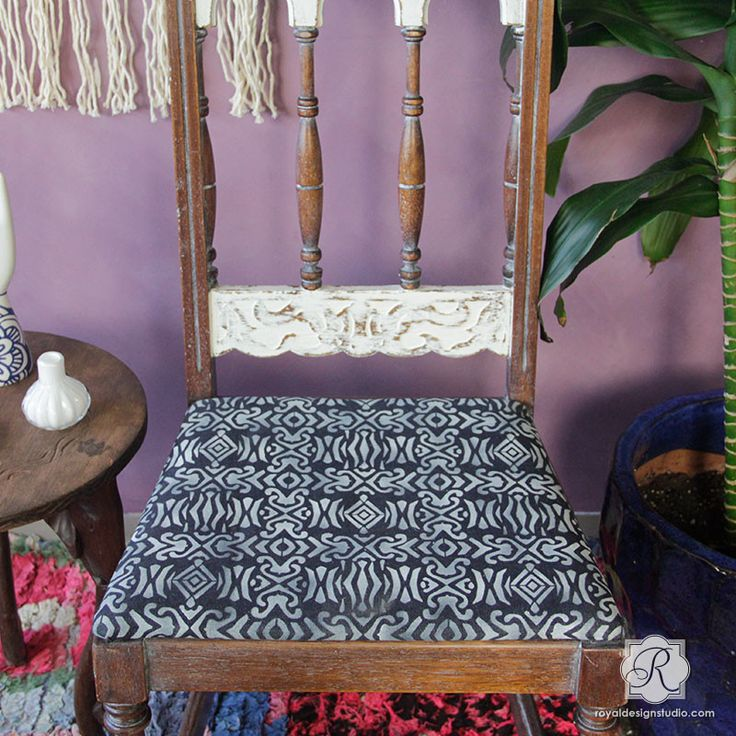 The Adisa Tribal Furniture Stencil is inspired by the colorful fabrics and art of West African design. Add a touch of Kuba and Yoruba inspired pattern to furniture or indigo batik fabric. For a large