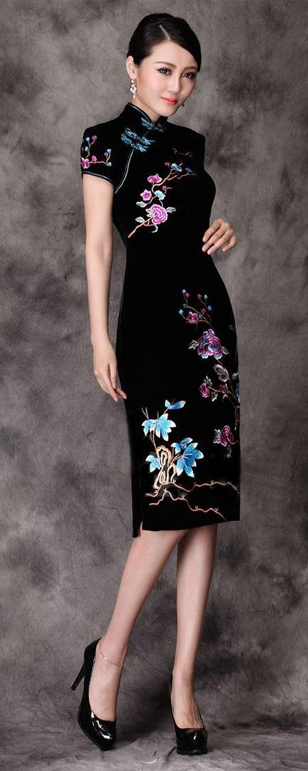 Flowered cheongsam (traditional Shanghai, China dress).